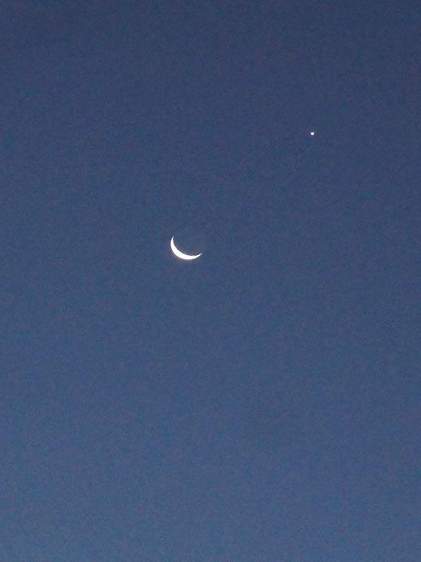 早朝の月と星