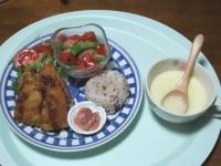 12/6 夕食 白身魚と豆腐のフライ、サラダ、コーンスープ、イカ明太、雑穀ごはん