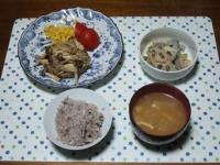 12/10 夕食 豆腐ひじきバーグきのこソース、レンコンの塩炒め、大根と油揚げの味噌汁、雑穀ごはん