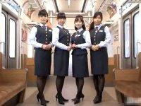 騎乗位で中出しサービスしちゃう通勤電車のスケベな客室乗務員www