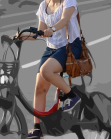 自転車のむちむち生美脚