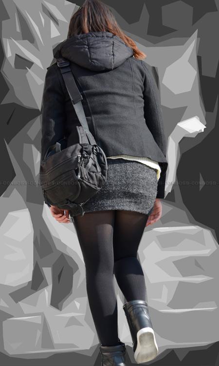 ■ ■vol258-黒タイツランガード丸出し尻肉食い込みムチ尻ミニスカート