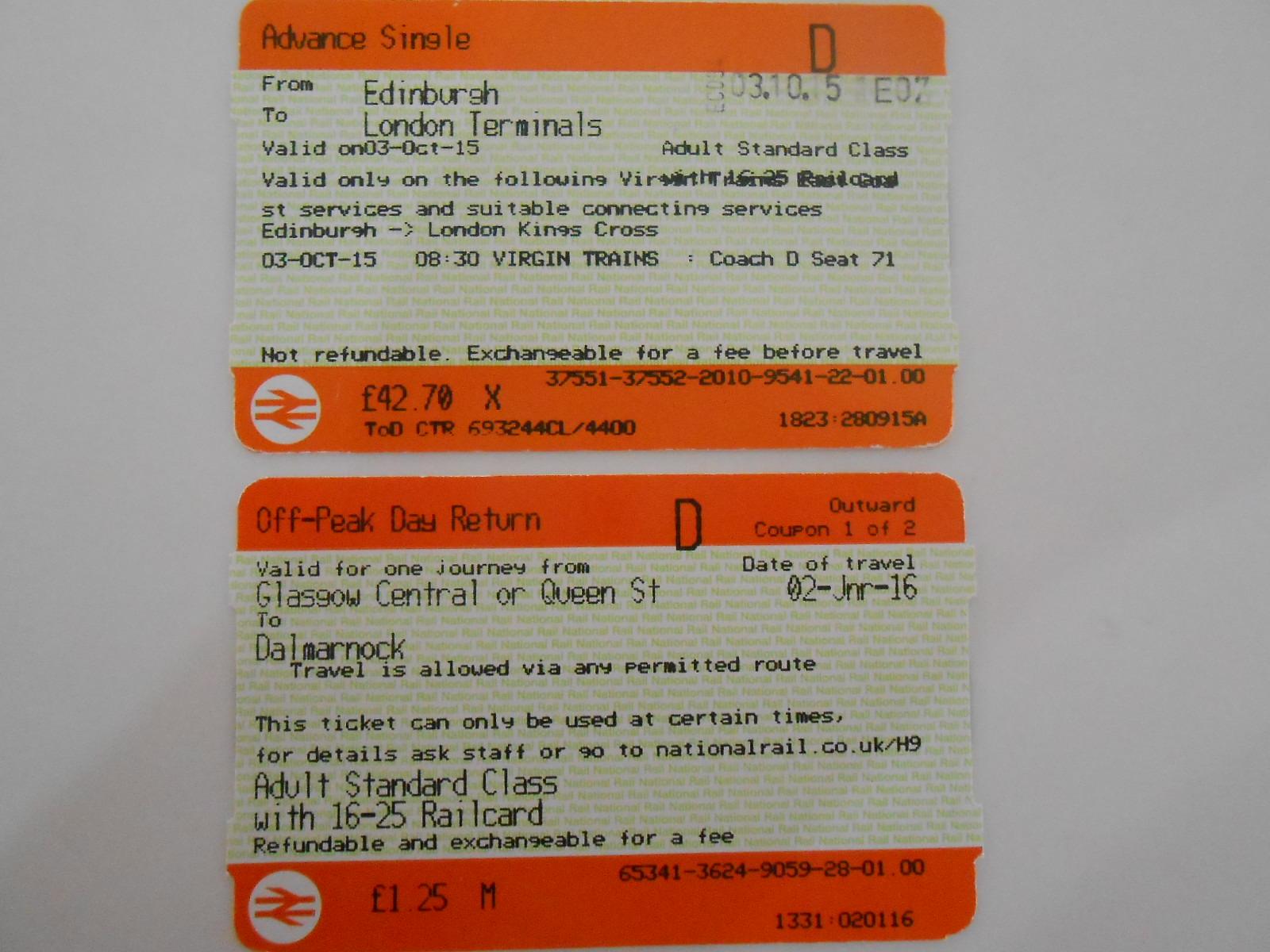 イギリスの鉄道 切符の種類について