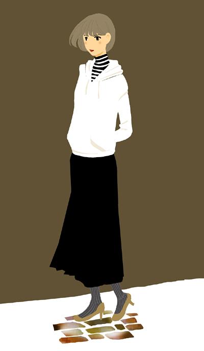 女性のイラスト パーカー