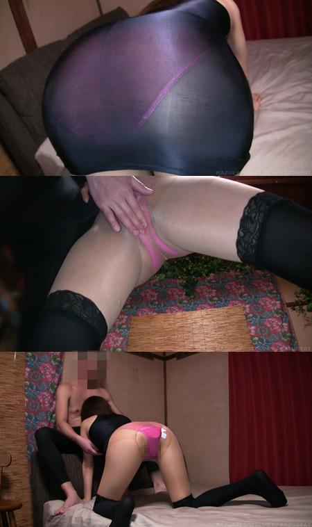 素人淫乱変態他人妻「ボディコンストッキング着衣二穴ハメ撮り絶頂ぶっかけ顔射」YURIKO(38)