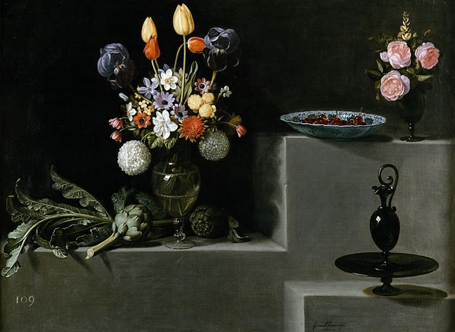 フアン・バン・デル・アメン「	Still life with flowers, artichokes and glassware	」