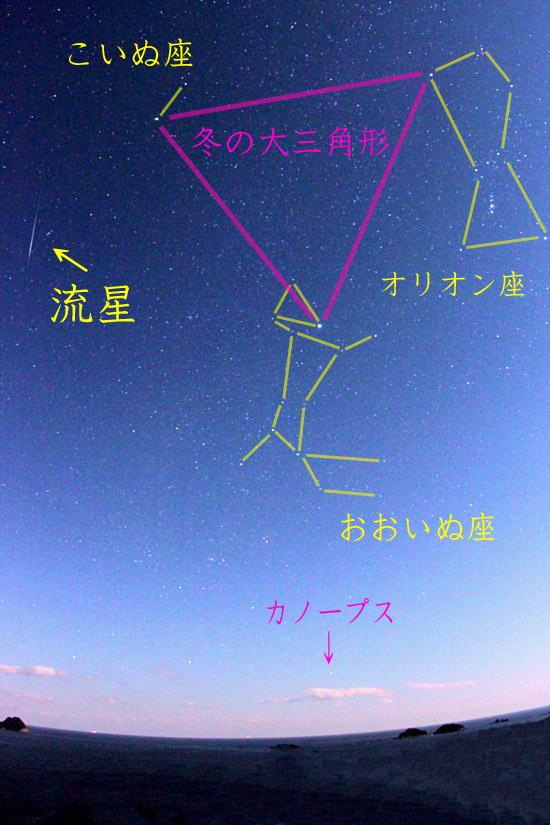ふたご座流星群の流星2013年01