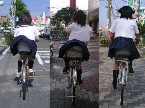 【盗撮】JKのパンモロやパンチラが簡単に見られる自転車通学画像 41枚 No.1