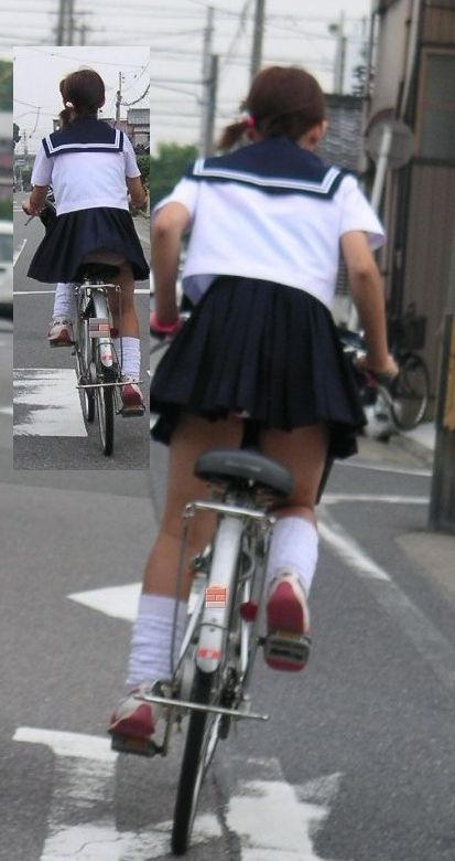 【盗撮】JKのパンモロやパンチラが簡単に見られる自転車通学画像 41枚 No.24