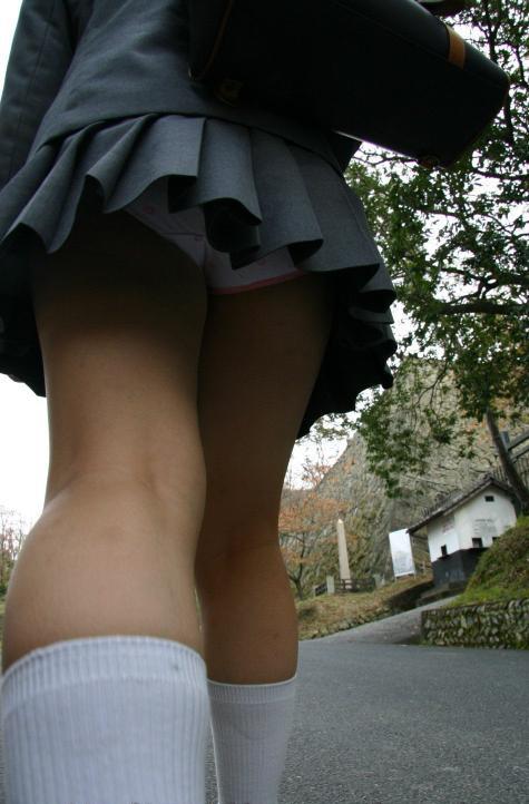 【画像】JKのお尻の肉付きが素晴らしい逆さ撮りのパンチラ盗撮画像 36枚 No.4