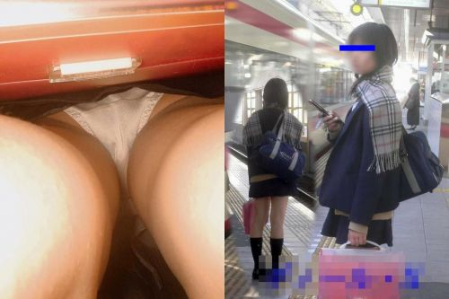 【画像】JKのお尻の肉付きが素晴らしい逆さ撮りのパンチラ盗撮画像 36枚 No.16