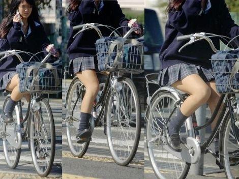 【盗撮】朝一からパンチラしちゃうJKの自転車通学エロ画像 38枚 No.6