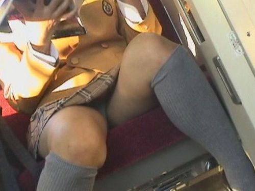 お行儀の悪いJKが電車で座ってパンチラしちゃってる盗撮画像 36枚 No.1