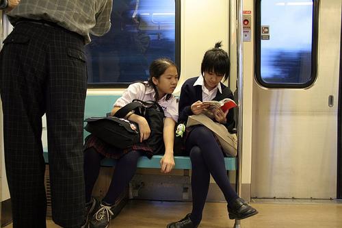 お行儀の悪いJKが電車で座ってパンチラしちゃってる盗撮画像 36枚 No.20