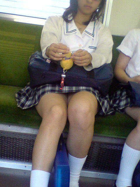 お行儀の悪いJKが電車で座ってパンチラしちゃってる盗撮画像 36枚 No.21