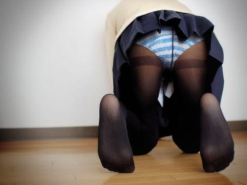 【盗撮】黒タイツを履いたミニスカ女子高生画像まとめ 36枚 No.9