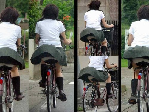 【盗撮】街中を歩いてたら自転車通学中のJKのパンチラ見えちゃったわwww 39枚 No.1