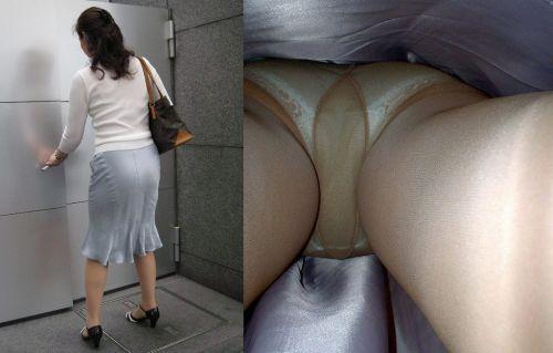 【盗撮画像】ベージュのストッキング履いたOLのスカートを逆さ撮りしたったwww No.4