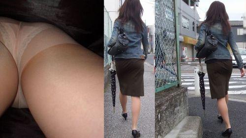 【盗撮画像】ベージュのストッキング履いたOLのスカートを逆さ撮りしたったwww No.11