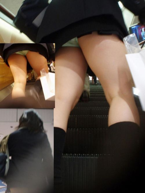 ミニスカJKのムッチリお尻を斜め下から盗撮したエロ画像 No.10