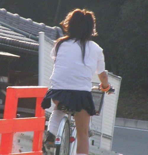 【盗撮画像】ミニスカJKが自転車通学すると当然パンチラしまくるよな 41枚 part.2 No.9