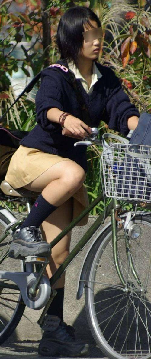 【盗撮画像】ミニスカJKが自転車通学すると当然パンチラしまくるよな 41枚 part.2 No.11