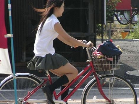 【盗撮画像】ミニスカJKが自転車通学すると当然パンチラしまくるよな 41枚 part.2 No.18
