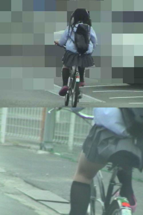 【盗撮画像】ミニスカJKが自転車通学すると当然パンチラしまくるよな 41枚 part.2 No.20