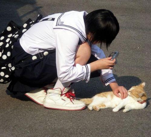 【盗撮画像】素人女子校生の街角で座り込んだりしゃがみパンチラがエロいわwww No.11