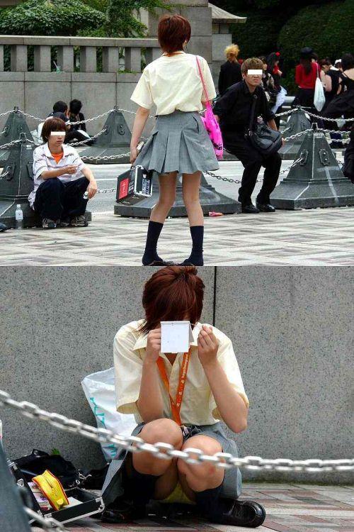 【盗撮画像】素人女子校生の街角で座り込んだりしゃがみパンチラがエロいわwww No.15