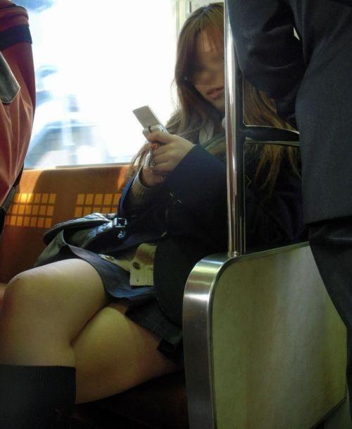 【盗撮画像】電車でパンチラしてるJKの股間と日焼けした太ももエロ過ぎwww No.7