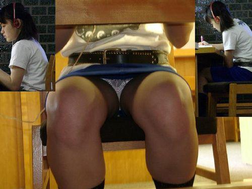 図書館の机の下のスカートの中をこっそり激写盗撮したエロ画像 35枚 No.1