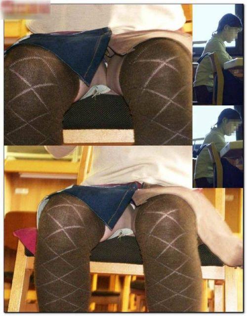 図書館の机の下のスカートの中をこっそり激写盗撮したエロ画像 35枚 No.35