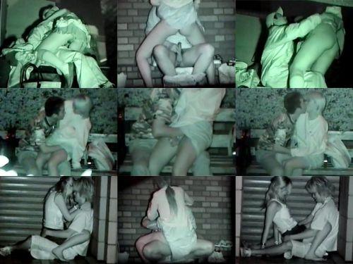 野外で騎乗位セックスしているカップルを赤外線カメラで盗撮エロ画像 45枚 No.13