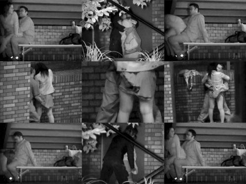 野外で騎乗位セックスしているカップルを赤外線カメラで盗撮エロ画像 45枚 No.17