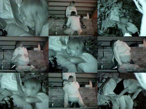 野外で騎乗位セックスしているカップルを赤外線カメラで盗撮エロ画像 45枚 No.36