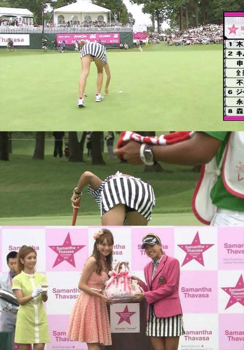 【エロ画像】女子ゴルフのTV中継のハプニングパンチラが抜けるwwww 37枚 No.4