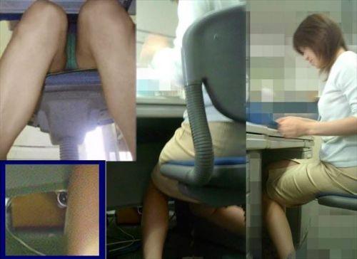 机の下で無防備にデルタゾーンパンチラしちゃってるOL盗撮画像 47枚 No.9