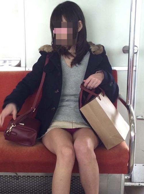 電車内で素人がデルタゾーンパンチラやパンモロしてる盗撮画像 39枚 No.4