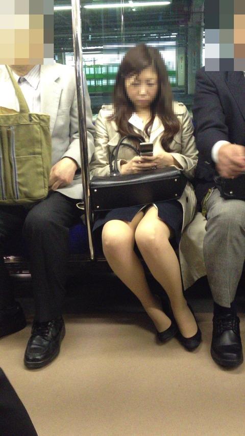 電車内で対面に座ったOLのトライアングルパンチラを盗撮したエロ画像 34枚 No.14