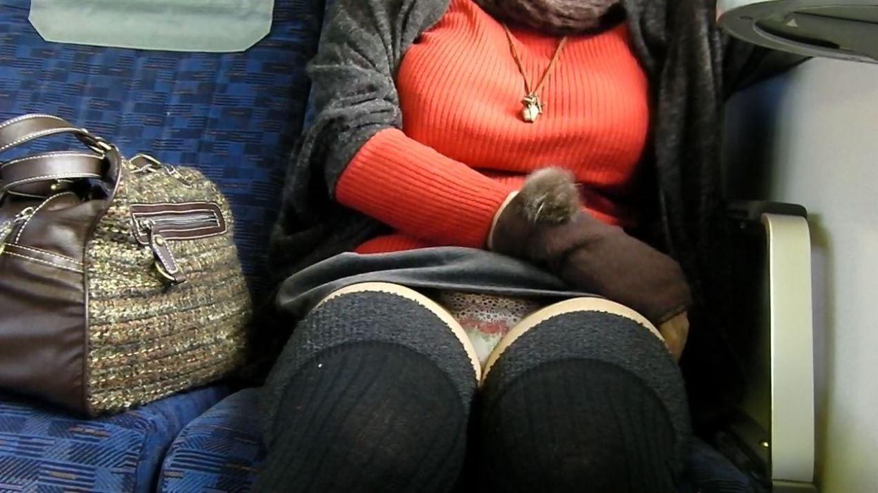(写真)列車内でデルタゾーンパンツ丸見えや股開きパンツ丸見えを激写秘密撮影www