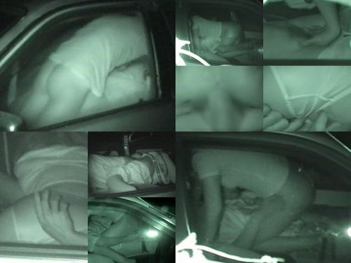 赤外線カメラで揺れる車内を盗撮したカーセックスのエロ画像 35枚 No.1