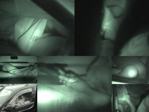 赤外線カメラで揺れる車内を盗撮したカーセックスのエロ画像 35枚 No.13