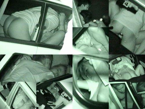 赤外線カメラで揺れる車内を盗撮したカーセックスのエロ画像 35枚 No.15