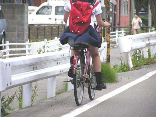 【画像】自転車通学中に強風でパンモロしちゃうミニスカJK達www 35枚 No.1