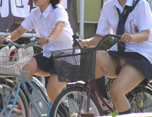 【画像】自転車通学中に強風でパンモロしちゃうミニスカJK達www 35枚 No.20