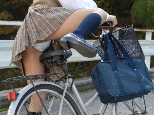 【画像】自転車通学中に強風でパンモロしちゃうミニスカJK達www 35枚 No.29