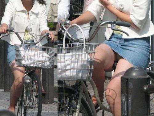 100%パンチラ!デニムミニスカで自転車に乗るギャルのエロ画像 37枚 No.19