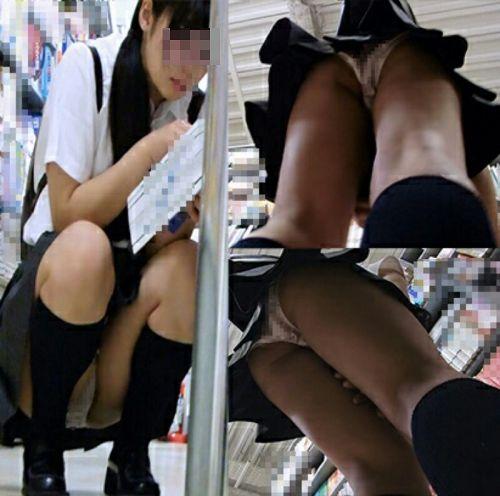 【画像】ビデオ店で制服を着たJKの棚下パンチラがエロ過ぎたwww 34枚 No.10