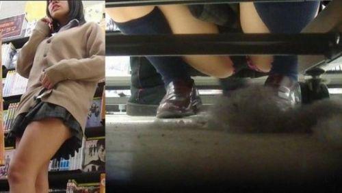 【画像】ビデオ店で制服を着たJKの棚下パンチラがエロ過ぎたwww 34枚 No.22